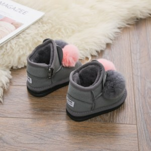 Image 2 - DIMI 2020 Winter Baby Girl Boots Rabbit Hair Ball Infant Toddler Cotton Shoes Non slip Warm Plush Child Snow Boots for Girl