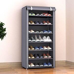 Image 1 - Multilayers נירוסטה נעל Rack הבית ארגונית עבור נעל מדף ארון אבק הוכחה ברזל מדפי עבור נעלי אחסון מדף מדף