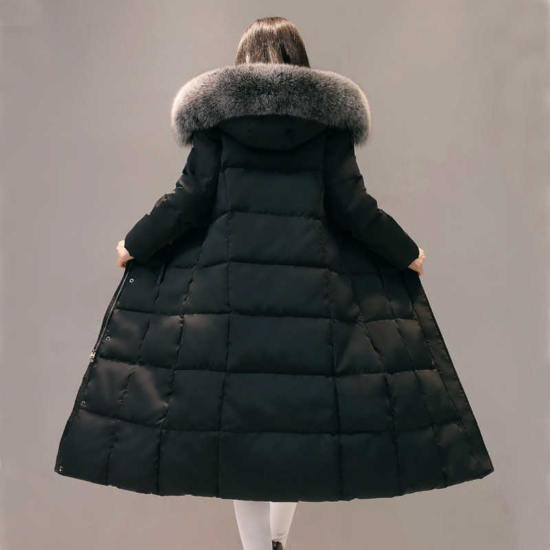 חורף 2020 ארוך נשים של ברווז למטה מעיל ברדס שועל פרווה צווארון המשאף מעיל Doudoune Femme Hiver D160 KJ4645