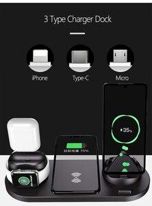 Image 2 - Estación de carga inalámbrica multifunción 6 en 1 para iPhone 11Pro, Xs, Max, Xr, 8, base de carga USB para Apple iWatch 5, 4, 3, Earphone2