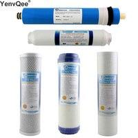Máquina de filtro de agua de 1 micrón PPF + GAC + CTO + RO + T33 /(USA GE 75GPD RO) para purificador de agua de ósmosis inversa en 5 etapas