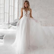 Elegant Bohemian Wedding Dresses 2019 Lace Appliques Tulle Bridal Dress Customized Plus Size Gown