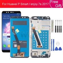 עבור Huawei P חכם LCD תצוגת ליהנות 7s 2017 מסך מגע Digitizer עצרת עם מסגרת תאנה LX1 L21 L22 החלפת מסך