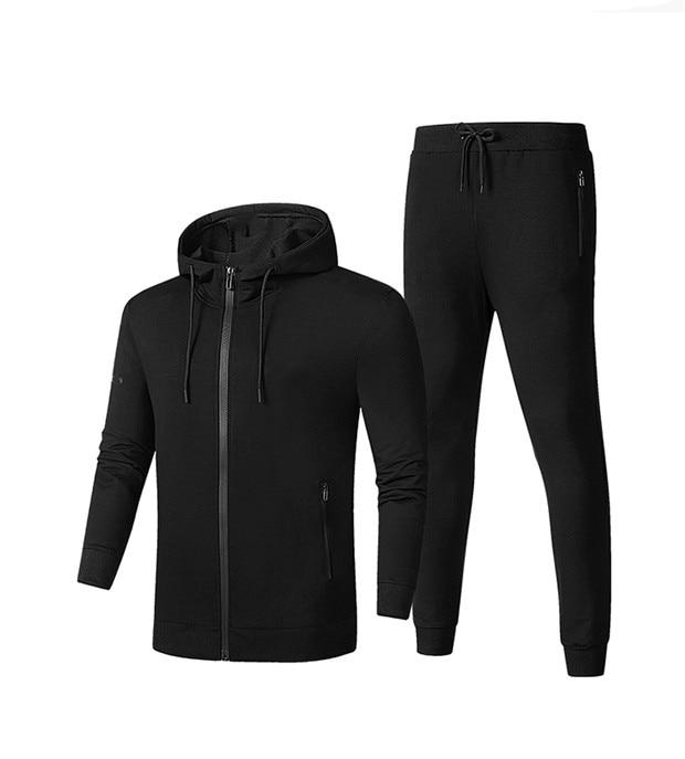 2019 New  Men Autumn Running Set Long Sleeve Stand Collar Sweatshirt Sports Set Gym Clothes Men Sport Suit Training Suit