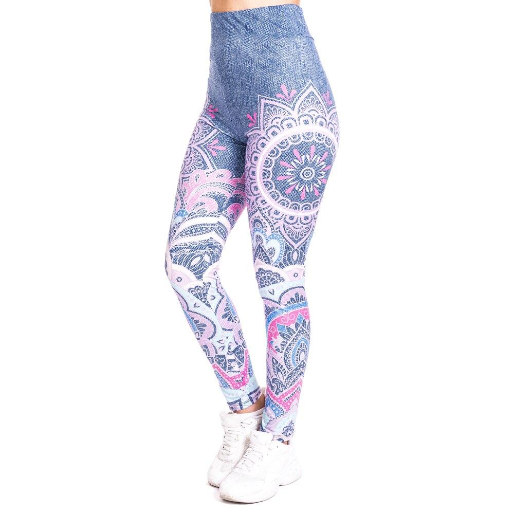 Mandala pink imitate Jeans Print   Legging   Push Up Fashion Pants High Waist Workout Jogging For Women Athleisure Training   Leggings