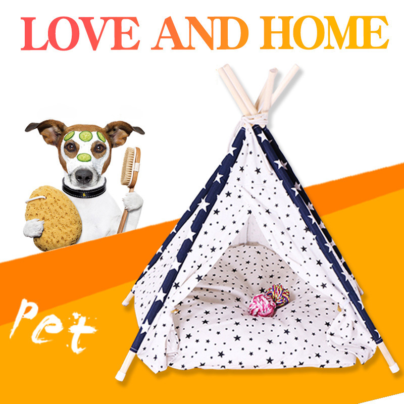 Foldable Pet Tent Cat Tent Puppy House <font><b>Dog</b></font> Teepee Sleeping Mat Portable Pet <font><b>Kennels</b></font> Washable <font><b>Dog</b></font> Tent caseta perro exterior image