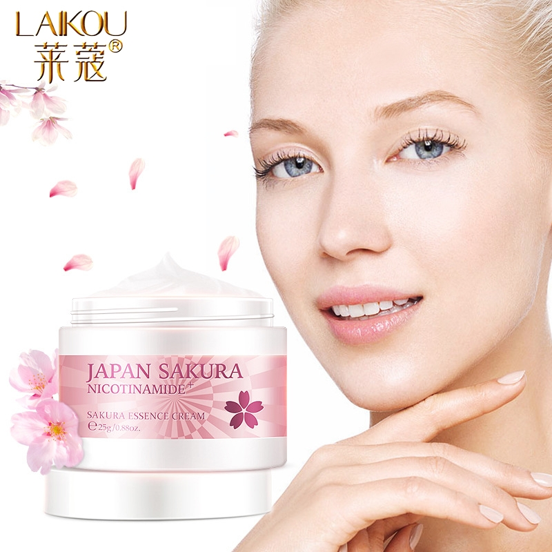 LAIKOU Cherry Blossom Face Cream Moisturizing Cream Anti Aging Anti Wrinkle Whitening Day Serum For Face Skin Care Serum Bio Oil