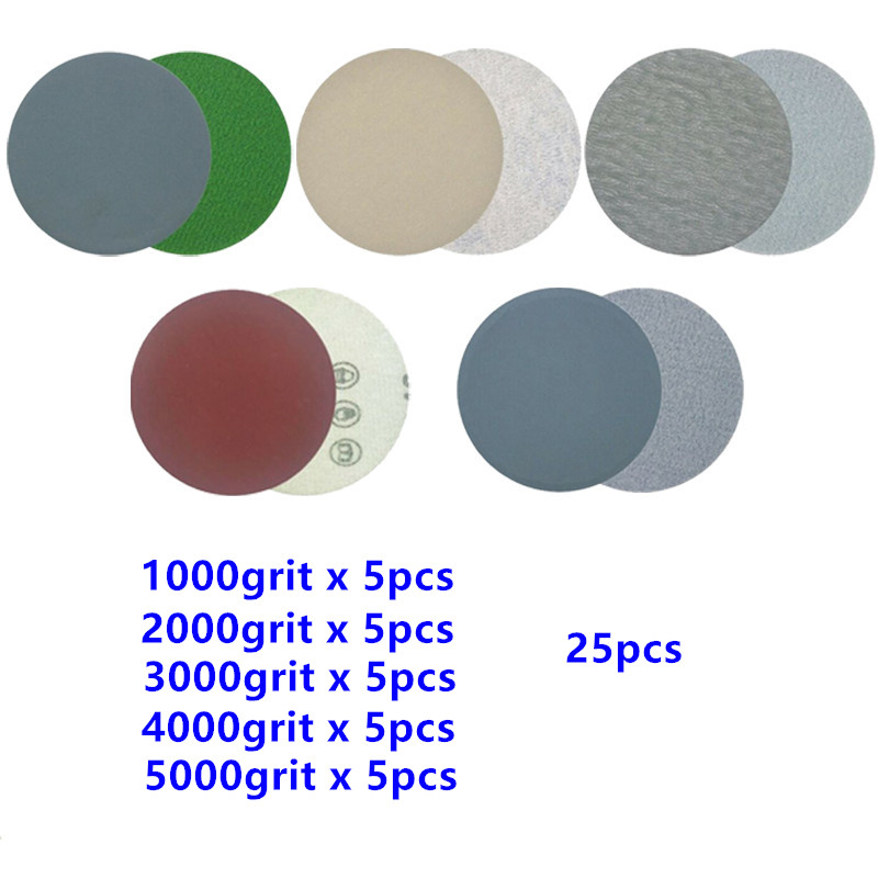 30Pcs 3 Inch 75mm Round Wet Dry Sandpaper Disk Sand Sheets Grit1000-7000 Sanding Disc Hook And Loop For Polishing Cleaning Tools