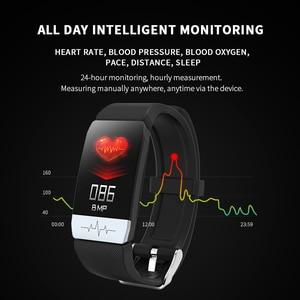 Image 4 - 2020 Fitness Tracker T1s EKG + PPG Körper Temperatur Wasserdicht Heart Rate Monitor Smart Band Wetter Prognose Smart Armband Sport