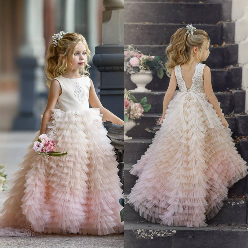 Well-Designed Tiered Tulle Princess Dress Custom Made Flower Girl Dress For Wedding New Long Pageant Gowns For Elegant Princess