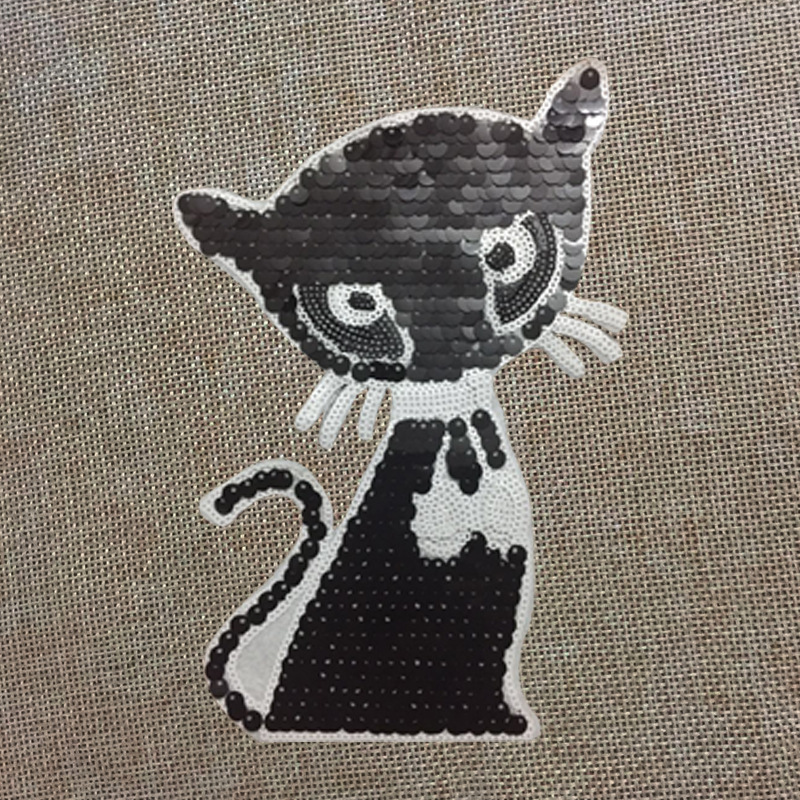 2pcs Sequins Cat Pattern Patch For DIY Clothing T-shirt And Jacket