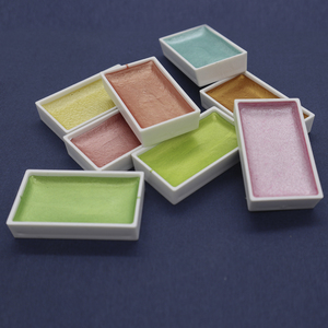 Image 5 - SeamiArt 24 색 세미 드라이 글리터 메탈릭 수채화 물감 선물 상자 세트 아티스트 수채화 물감 진주 안료 드로잉 용품