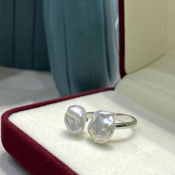 2021 Summer Female pierścionek z perłą barokowa perła otwarty pierścionek regulowany pierścionek ustawienie podwójny pierścionek koralikowy prosty kobiecy pierścionek kobiecy Jewelr tanie i dobre opinie 0 01 SILVER 925 sterling CN (pochodzenie) Kobiety Perły Akoya Drobne Pierścionki ZZ021 Klasyczny Na imprezę