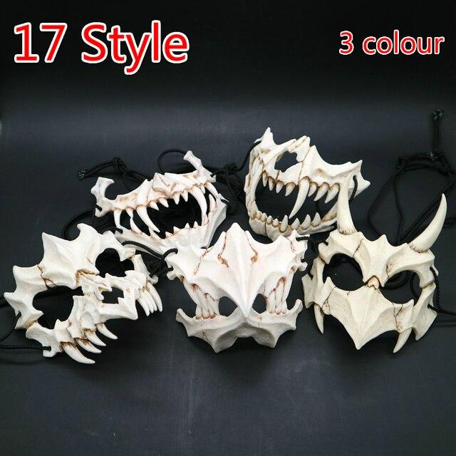 17 stil Drachen Gott Maske Cosplay Prop Tengu Tiger Maske Halloween Harz Tier Thema Masken