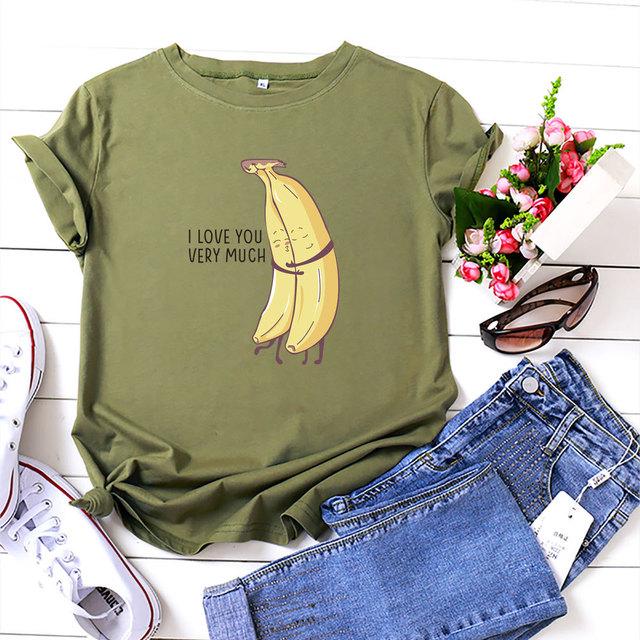 Women Cute Bananas Print T-Shirt