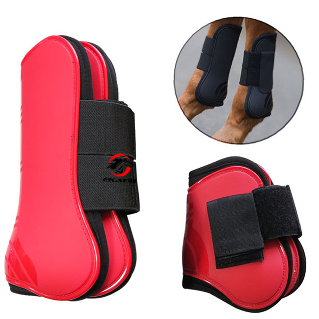 Black Equestrian Sports Tendon And Fetlock Boots Set 4pcs Horse Riding Shock Absorbing Show Jumping Leg Protection Horse Boots