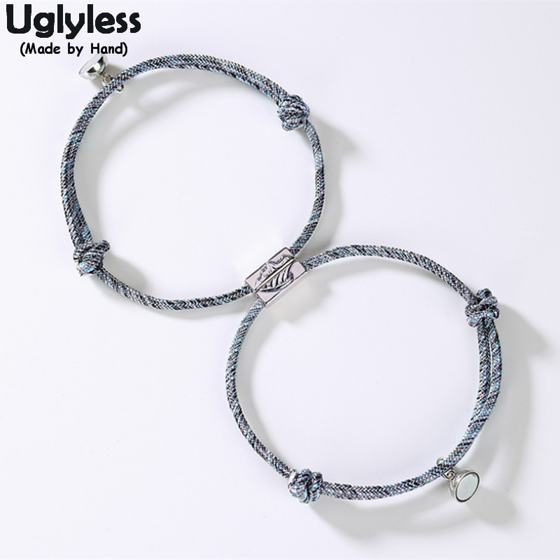 Uglyless 1Pair Lovers Infinity Bracelets Adjustable Rope Chain Bracelet For Couples 925 Silver Mountain Wave Bead Magnet Jewelry