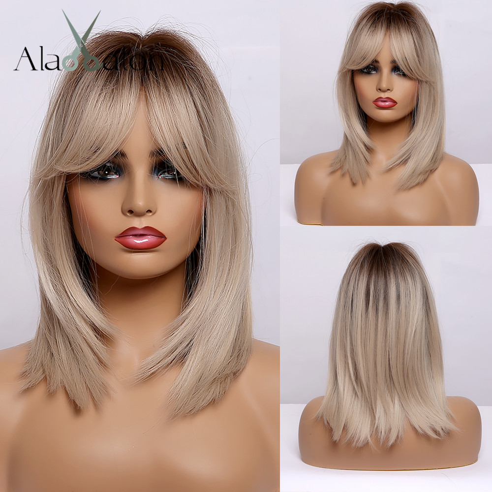 ALAN EATON Ombre Black Brown Blonde Straight Hair Wigs with Bangs Short Synthetic Wigs for Women Cosplay Heat Resistant Fibre