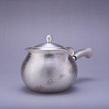 Teapot, kettle, hot water teapot, iron stainless steel tea bowl, 350ml capacity, handmade S999 sterling silver t