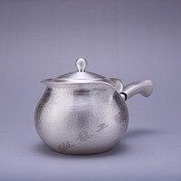 Teekanne  wasserkocher  heißer wasser teekanne  eisen teekanne  edelstahl wasserkocher  tee schüssel  350ml kapazität  handgemachte S999 sterling silber t