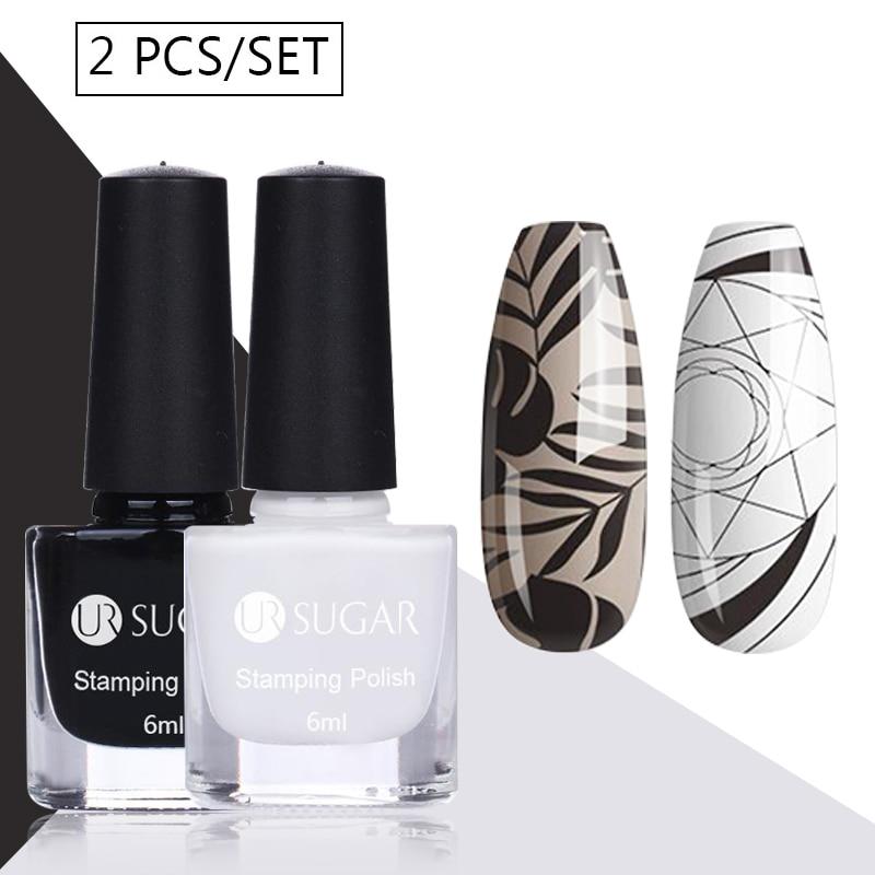 UR SUGAR стемпинг ногтей покрытие черные, белые, золотые, серебряные штампы, красочные печатные лаки для пластин, изображения, лак для ногтей