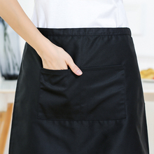 Short Waist Apron Waiter Waitress Barista Workwear with Pocket Black Unisex Waterproof Restaurant Chef Server Household Kitchen