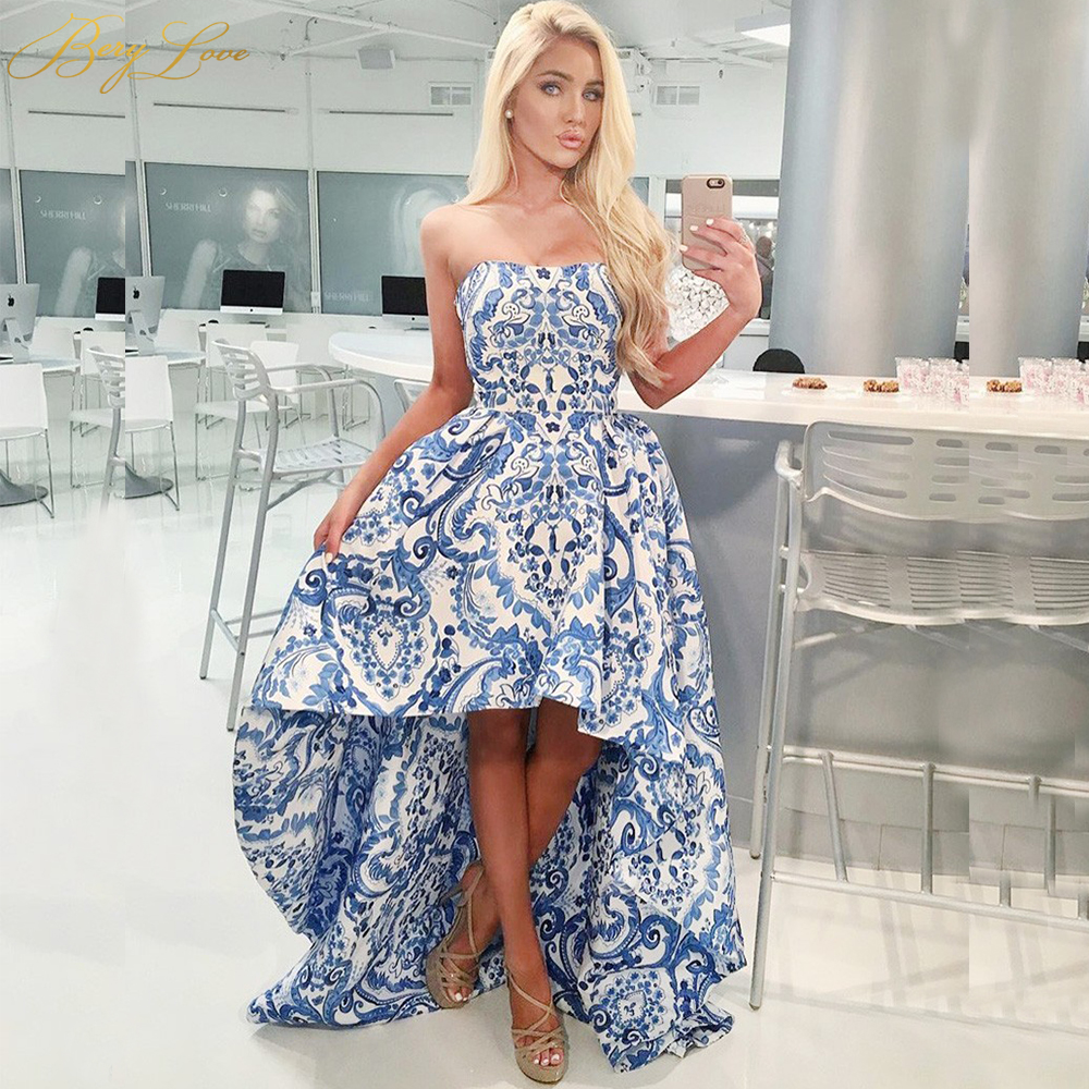 Fashion High Low Print Blue Formal Evening Dresses 2020 Long Strapless Satin Evening Gowns Formal Dress Prom Party robe de soire