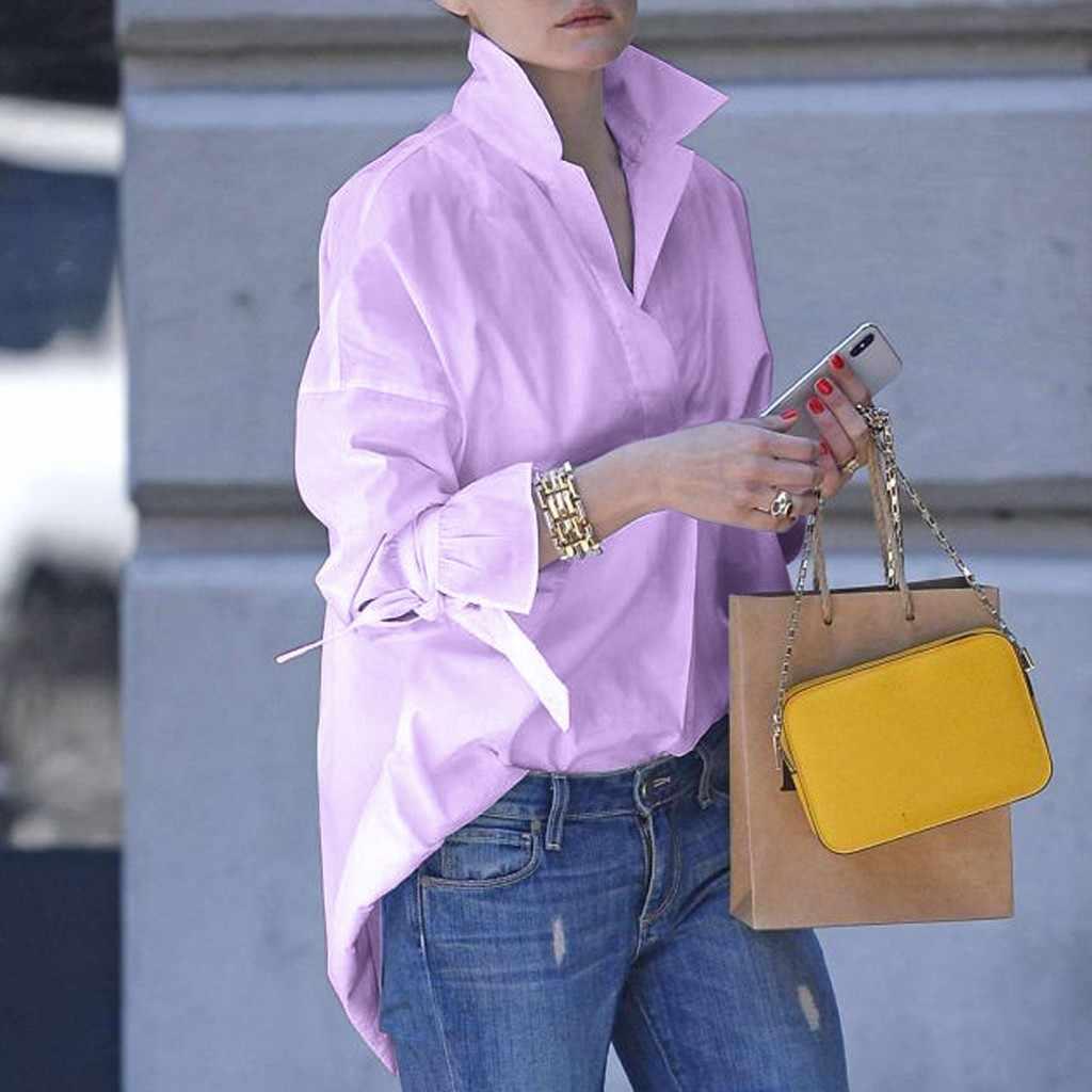 ملابس علوية بأكمام طويلة للربيع بلوزات نسائية غير رسمية قميص علوي طية صدر السترة 2020 بلوزة عصرية ذات طباعة بسيطة بلوزات نسائية كبيرة الحجم