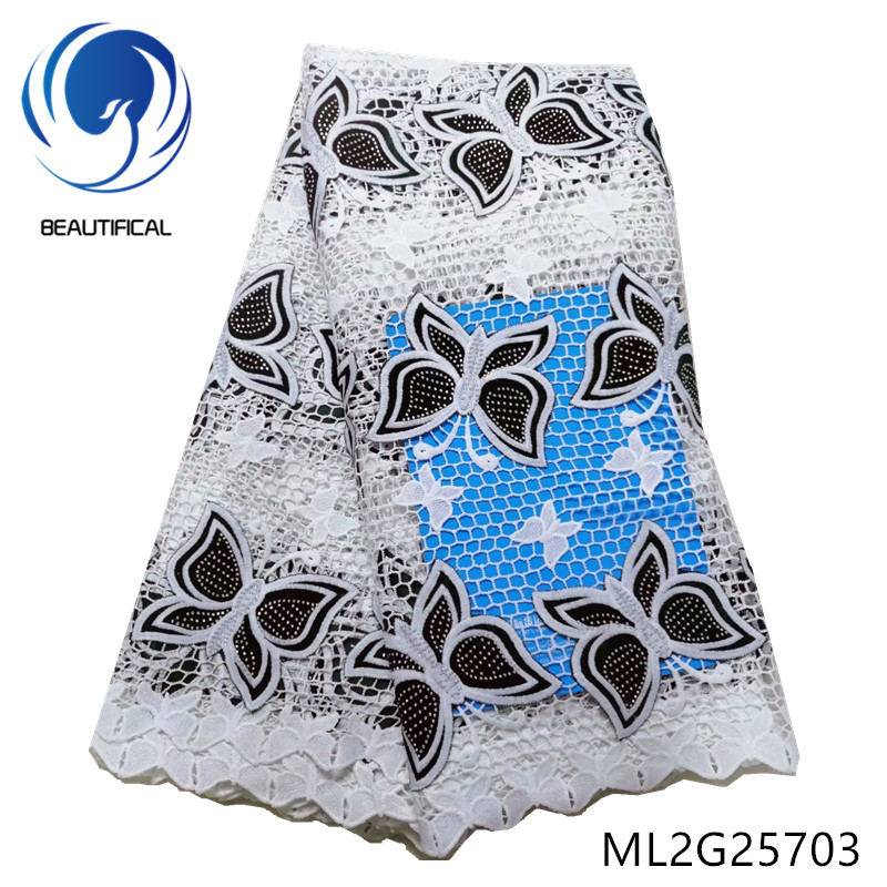 BEAUTIFICAL african lace fabrics Latest design Guipure lace with Butterfly pattern Flannel fabrics with stones 5yards ML2G257 - 3