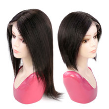 Wig Human-Hair Isheeny Lace-Front Women Short Straight for U-Part Natural