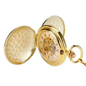 Image 5 - YISUYA Fashion Golden Smooth Double Hunter Case Roman Number Skeleton Steampunk Hand wind Mechanical Pocket Watch for Men Women