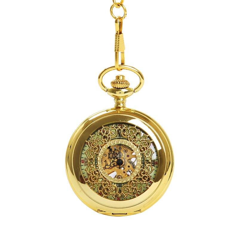 Mechanical Pocket Watch Gold Thick Chain Dense Flower Hollow Knight Light Pocket Watch Ancient Roman Text Pocket Watch