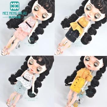 Blyth doll Clothes fashion suspenders, mini skirts for Blyth Azone OB23 OB24 1/6 doll accessories 1pcs blyth doll clothes fashion denim clothing t shirts shoes for blyth azone ob23 ob24 1 6 doll accessories
