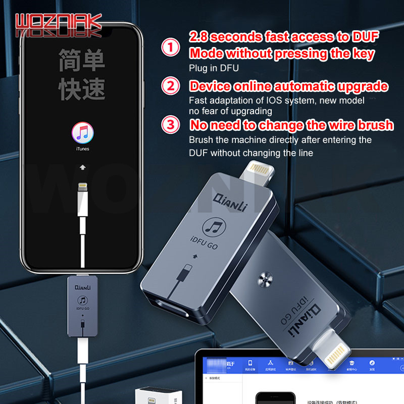 QIANLI IDFU GO Start DUF No Need Change Line Enter Recovery Mode Directly Shortcut Brush Tool For Lightning Interface IOS Device