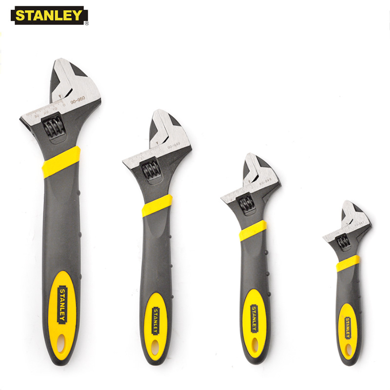 Stanley 1-piece professional wide open bi-material rubber handle adjustable head wrenches