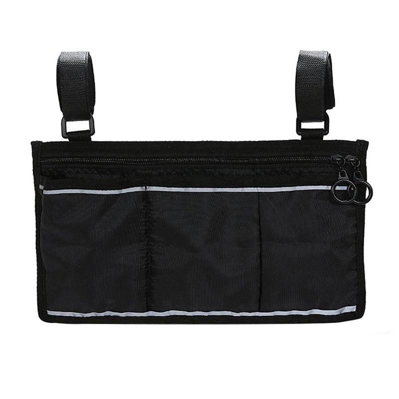 Wheelchair Side Bag - Great Accessory For Your Mobility Devices. Fits Most Scooters, Walkers, Rollators - Manual Black