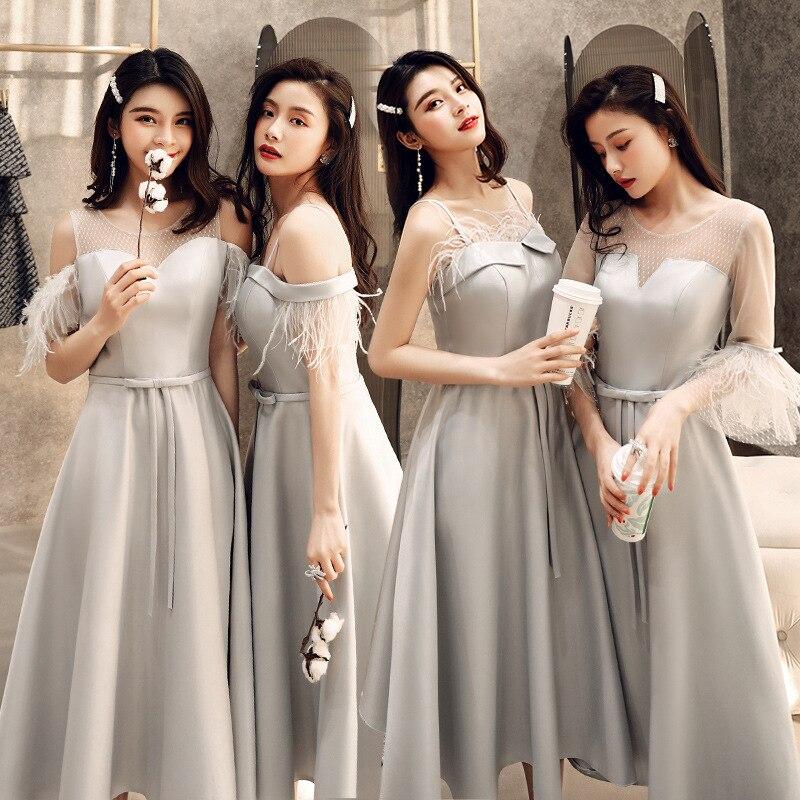 Gray Bridesmaid Dresses Graceful Feathers Wedding Party Dress O-Neck Half Sleeve Elegant Gowns Tea-Length Women Vestidos R087
