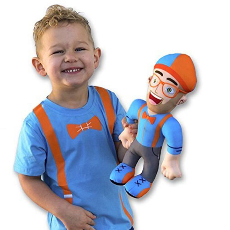 32cm Blippi Plush Doll Soft Stuffed Toy  Baby Educational Cosplay Cap Hat Prop Enlightenment Gift