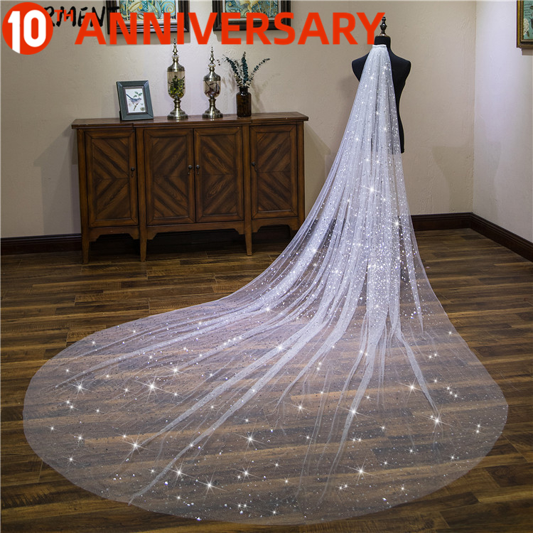 OLLYMURS New Shiny Piece Bride Wedding Actress Empty Section Trailing One-Layer 400cm Veil Wedding Accessories