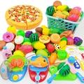 43 шт. дети играют дома вырезание игрушек фруктов пластик овощей Кухонные Детские классические детские игрушки Playset развивающие игрушки