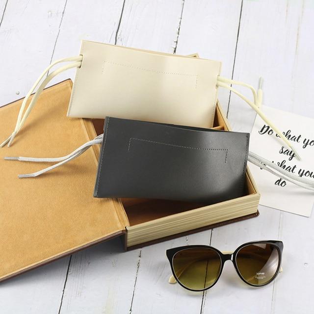 2020 camadas duplas drawstring couro do plutônio óculos de sol caso protable óculos de sol protetor saco caso eyewear acessórios
