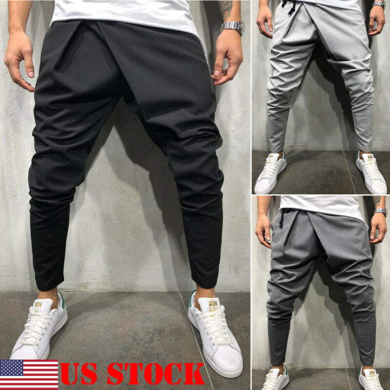 2020 New Style Fashion Solid Men's Track Pants Slim Cuff Trousers Casual Tracksuit Casual Plain
