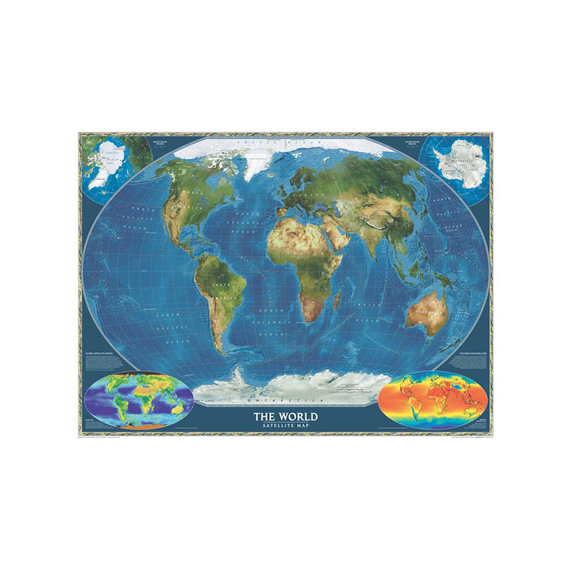 150x100cm Non-woven Spray World Map The World Satellite Map Without National Flag And Surface Temperature Map