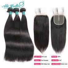 Aligrace cabelo humano fechamento brasileiro, 3 pacotes de cabelo liso com fecho hd renda 4x4 hd fechamento com pacotes