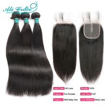 Human-Hair Hair-Bundles Closure Aligrace Straight Brazilian 4x4 with HD
