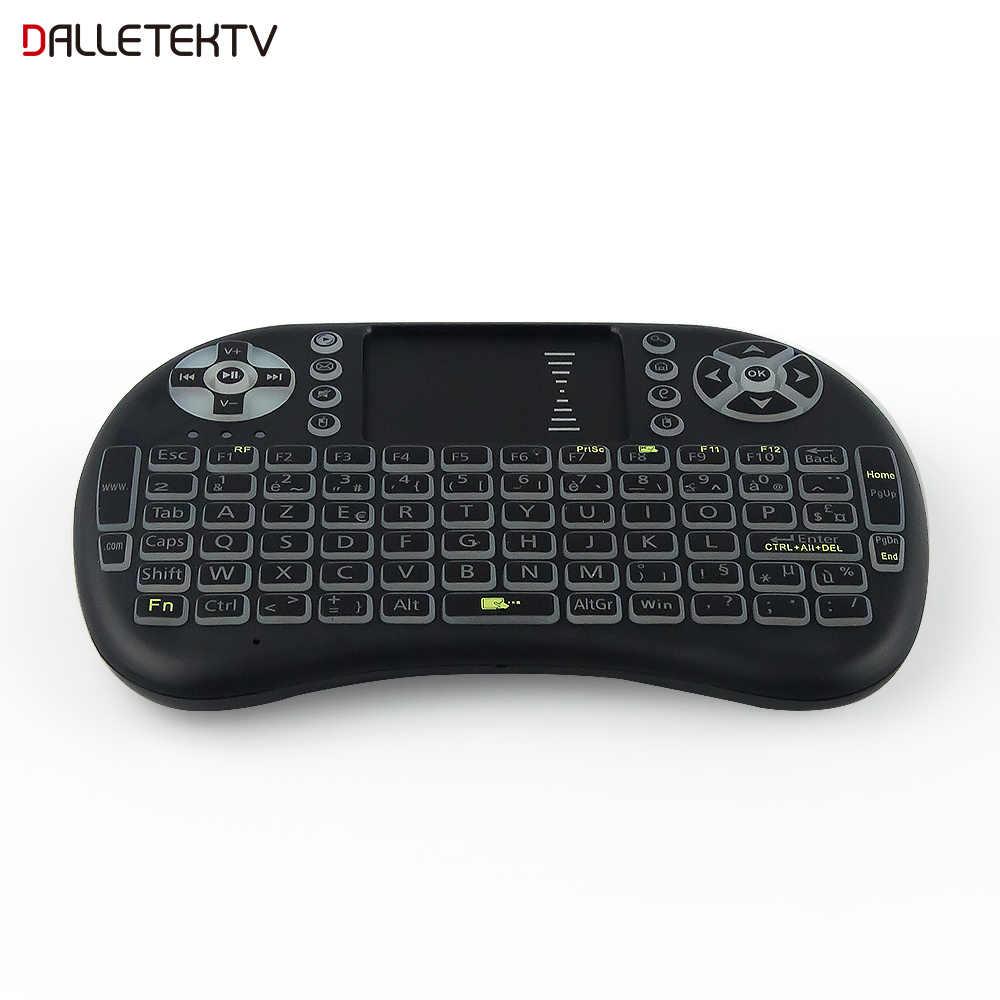 Mini teclado inalámbrico i8 retroiluminado de 2,4 ghz ratón aéreo inglés ruso con Touchpad Control remoto Android TV Box