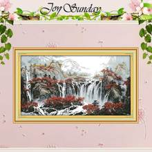 Autumn Mountain with Fountains Counted Cross Stitch 11CT 14CT Cross Stitch Sets Chinese Cross-stitch Kits Embroidery Needlework