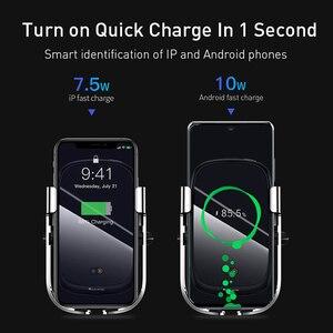 Image 4 - Baseus 10w carro qi carregador sem fio para iphone xs max samsung xiaomi titular do telefone carro inteligente infravermelho rápido sem fio de carregamento