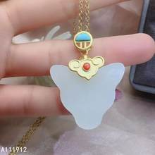 KJJEAXCMY fine jewelry natural white jade Agate 925 sterling silver women pendant necklace chain support test fashion