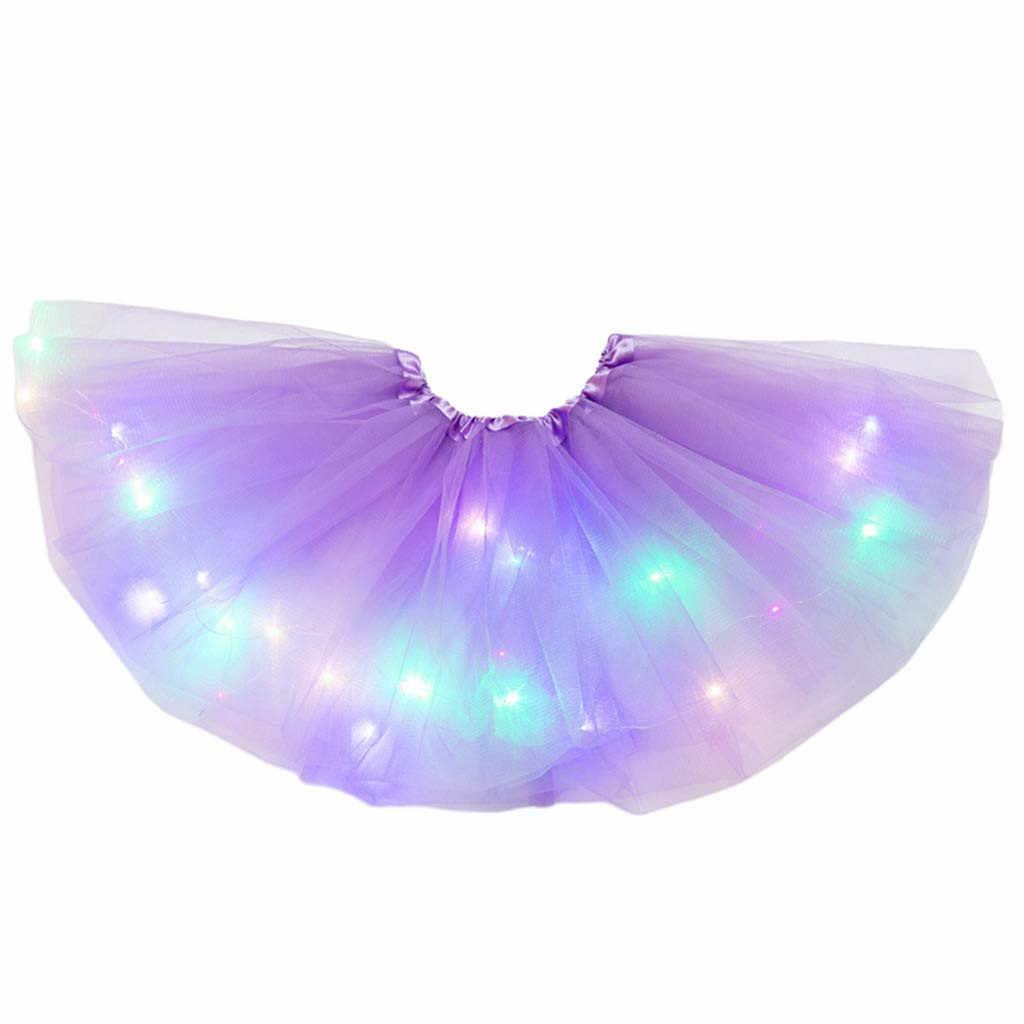 Anak-anak Gadis Bayi Tutu Rok Kostum Mewah LED Light Up Gaun Balet Bayi Perempuan Kuning Rok Tutu Balet Spodnica Niemowleca